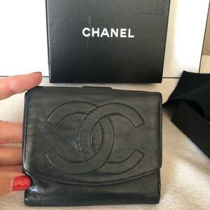 Chanel Timeless CC Logo Black Compact Wallet Vint